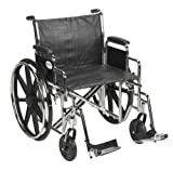 Drive Medical Sentra EC Heavy Duty Wheelchair with Various Arm Styles and Front Rigging Options, Black, Bariatric 22''