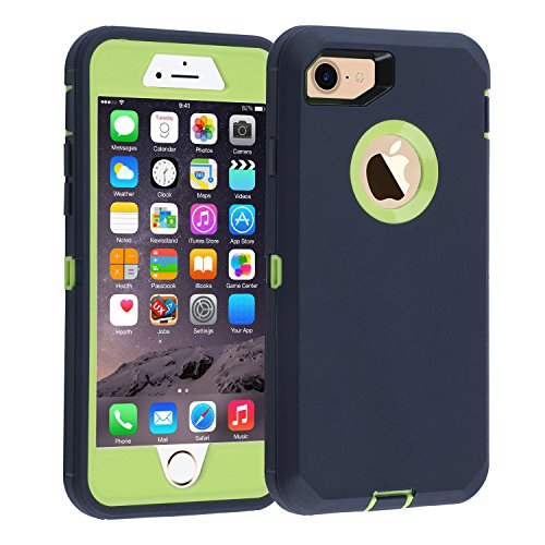 iPhone 7/8 case, [Heavy Duty] Armor 3 in 1 Built-in Screen Protector Rugged Cover Dust-Proof Shockproof Drop-Proof Scratch-Resistant Tough Shell for Apple iPhone 7 4.7 inch navyblue/Green