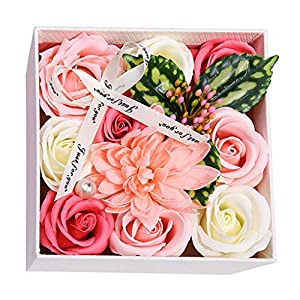 Iusun Artificial Soap Flower Rose Box Floral Bridal Wedding Bouquet Party Festival Holiday Home Office Hanging Decorations Valentines Hot Ornament (D) 76