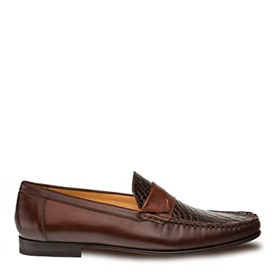 Mezlan SICA Mens Luxury Formal Loafers - Calfskin & Crocodile Slip-On Loafer with Leather Sole - Handcrafted in Spain - Medium Width: Shoes