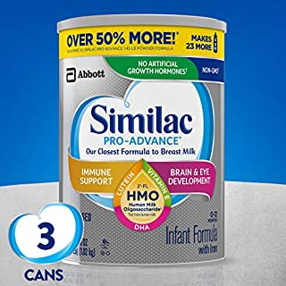 Similac Pro-Advance with 2'-FL human milk oligosaccharide* provides immune support by encouraging immune cells to release protective proteins in amounts more like the breastfed baby. It's also the first leading infant formula with no artificial growt...