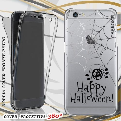 CUSTODIA COVER CASE HAPPY HALLOWEEN PER IPHONE 6 FRONT BACK TRASPARENTE
