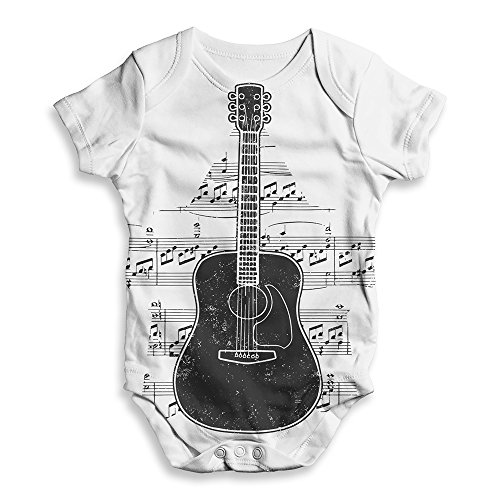 TWISTED ENVY Funny Bodysuits Baby Grow Onesie Guitar Music Notes Star White 3-6 Months