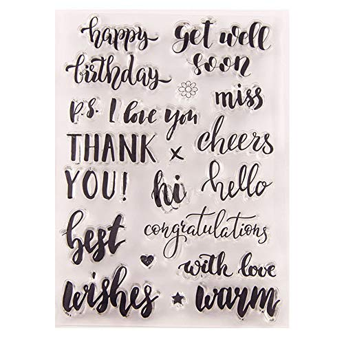 (Best Wishes Happy Birthday Cheers Greeting Words Phrase Cards Rubber Clear Stamp for Card Making Clear)