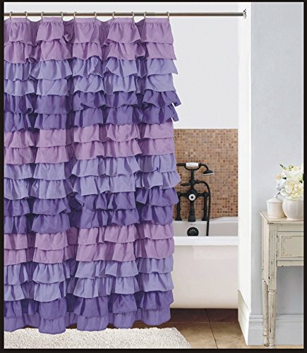 Lilac Flow Ruffled Shower Curtain Amazoncouk Kitchen Home