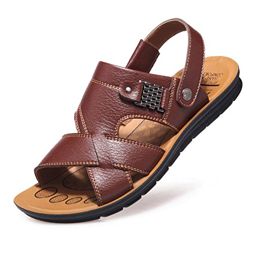 Beach Nuoto In Toe Pantofole Peep Antiscivolo Bagno Sandali Casuali Pelle Da Soft Da Summer Mens Pool Brown Casa Scarpe qnxpftwq