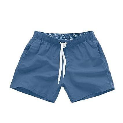 Guiran Bañadores Hombre Playa Cortos Ajustable Con Cintura Bañadores De Natación Pantalones Cortos Color Puro Armada XL so3580x