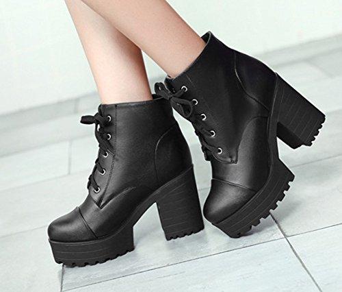 Plataforma De Punta Redonda De Moda De Las Mujeres De Aisun Tacones Altos Apilados Tops Cordones De Los Zapatos De Los Zapatos Negros