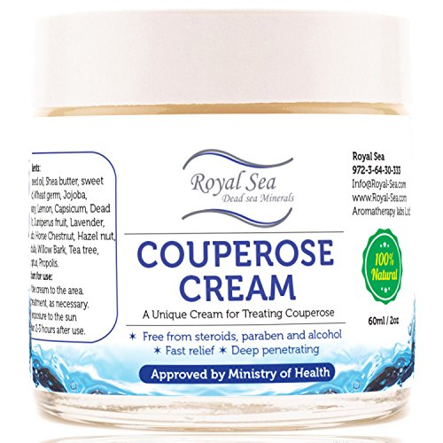 Royal Dead Sea Broken Capillaries, Rosacea Face Cream, Redness Relief and Couperose Treatment Natural Skin Care Product 2 Oz / 60 Ml (Best Treatment For Broken Veins On Face)