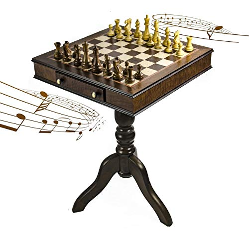 Pedestal Board Chess - Timeless Handcrafted Walnut Finish Italian Musical Pedestal Chessboard - Over 400 Song Choices - Ma'oz Tzur, Rock of Ages (Jewish Version)