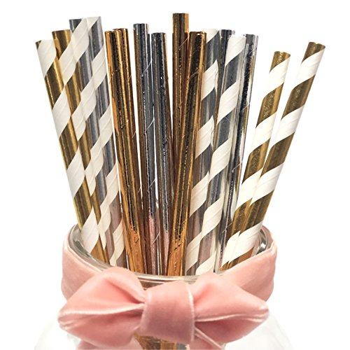 Assorted Gold & Silver Paper Drinking Straws, Solid Silver Mixed Plain Gold Foil Color Mix Silver Stripes And Golden Striped Colour Environmental Paper Straws (Pastries Mixed)