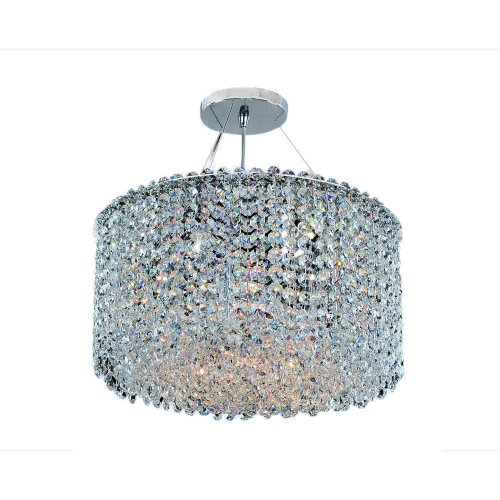 Allegri 11668-010-FR001 Milieu Metro - Six Light Semi-Flush Mount, Firenze Clear Crystal