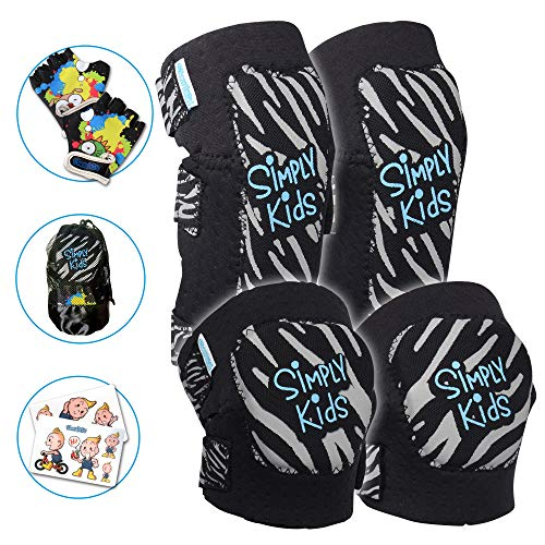 Innovative Soft Kids Knee and Elbow Pads with Bike Gloves | Toddler Protective Gear Set w/Mesh Bag& Sticker | Comfortable& Flexible | Roller-Skating, Skateboard, Bike Knee Pads for Children Boys Girls ()