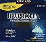 Kirkland Signature Ibuprofen Liquid Filled Capsules, 180-Count Bottles (Pack of 2)