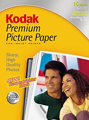 Kodak 8107120 Premium Picture Paper, Satin, 8.5inx11in, 15 Sheets