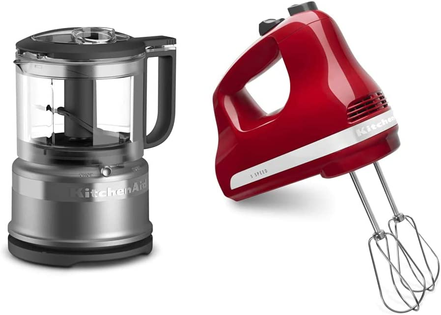 KitchenAid KFC3516CU 3.5 Cup Food Chopper, Contour Silver & 5-Speed Ultra Power Hand Mixer, Empire Red