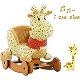 Labebe Child Rocking Horse Plush, Stuffed Animal Rocker Toy, 2 in 1 Yellow Giraffe Rocker with wheel for Kid 1-3 Years, Rocking Toy/Wooden Rocking Horse/Rocker/Animal Ride/Deer Rocker for Boy&Girl