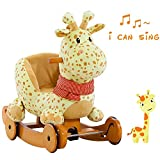 Labebe  10% Off - 7 Days Only  Baby Rocking Horse Wooden, 2 In 1 Plush Rocking Horse Wheels, Yellow Giraffe Rocker Baby 1-3 Years, Giraffe Baby Rocker/Animal Rocker Toy