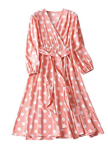 Romwe Women's Plus Elegant Vintage Polka Dot Surplice Maxi Dress Flare Flowy Party Dress Pink 4XL