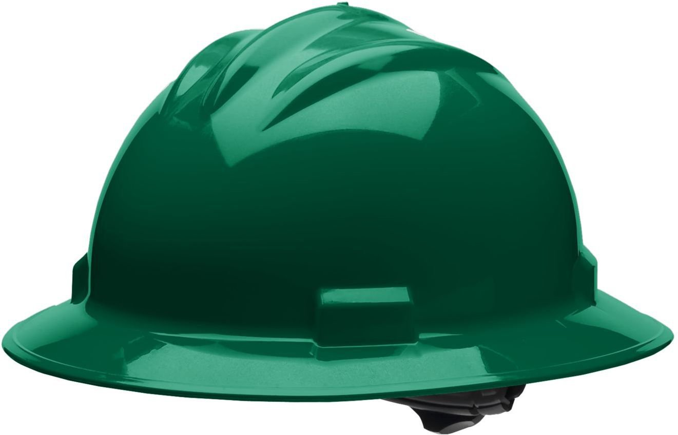 4 Point Ratchet Suspension One Size Forest Green Cotton Brow Pad Bullard 71FGR Standard Series Full Brim Hard Hat