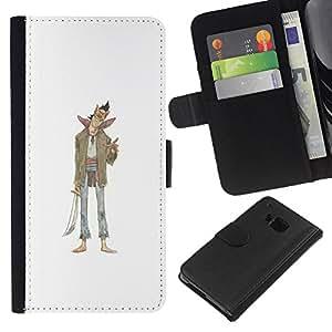 ZCell / HTC One M9 / Evil Character Sword Art Drawing Smile / Caso Shell Armor Funda Case Cover Wallet / Mal personaje Espada Arte Dibujo Sonrisa