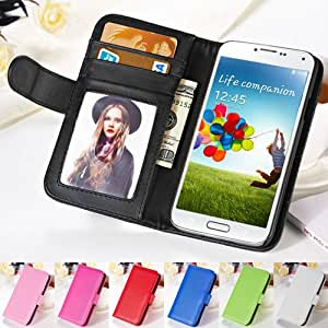 Fashion Wallet S4 Flip Style PU Leather Case For Samsung Galaxy S4 i9500 Phone Bag With Stand & Card Holder Photo Frame Cover --- Color:blue