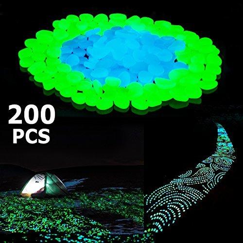 Stripsun Glow in the Dark Pebbles, [200pcs] Outdoor Glow Rocks Stones for Fairy Garden, Walkways, Driveway, Path, Fish Tank Aquarium DIY Decorations Gravel