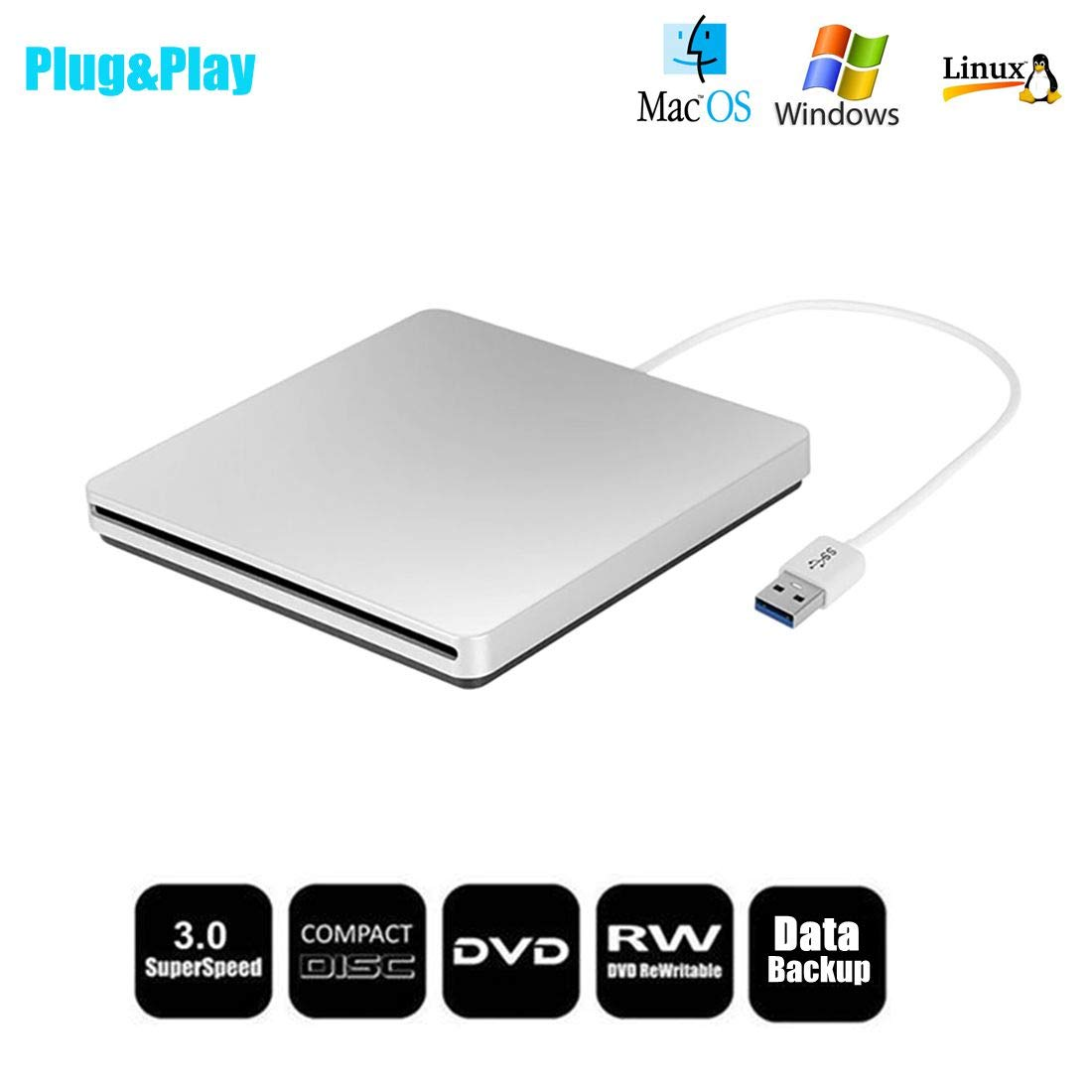 DVD/CD Drive, eTTgear Portable CD Drive External USB 3.0 Suction Type for Laptop PC Mobile Recording Disc Support Window2K/XP/2003/win7/win8/win10/Vista/, Linux, Mac 10 OS System-Silver