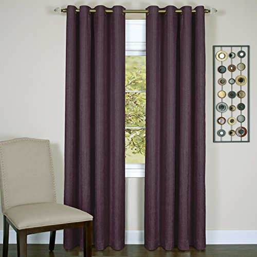 Eggplant Curtains (Achim Home Furnishings Taylor Lined Blackout Grommet Window Curtain Panel, 50 x 84, Aubergine)