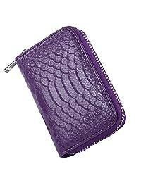 Crius RFID Blocking Genuine Leather Credit Card Wallet for Women, Mini Wallet (purple)
