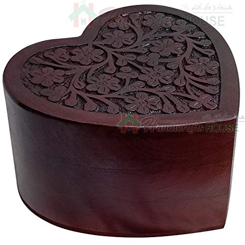Heart Shape Wooden Urns for Human or Pet Ashes, Wood Cremation Urn with Tree of Life Engraving - Hardwood Funeral Keepsake, Beautiful Wooden Box, Memorials Casket Capacity 150 Cub/Inches (Medium)