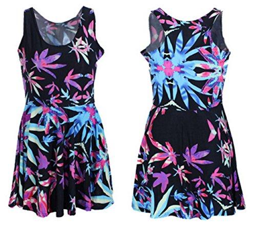 Neon-Purple-Pink-Blue-Weed-Marijuana-Leaf-Print-Mini-Dress-Quality-Spandex