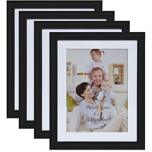 6x8 Picture Frames Photo Frame Set Black Wall Photo Frames Home Decoration Accessories Wall Decor, Set of 4 PCS (Tower Dresser Six Drawer)