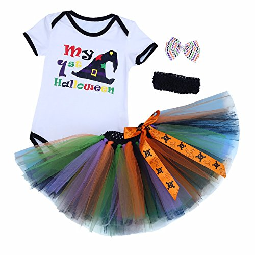 FEESHOW Baby Girls First Halloween Outfit Costumes Romper Bodysuit with Tutu Skirt Headband Set White&Black 0-3 (Baby Holloween Costumes)