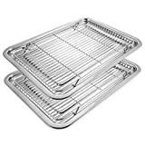 Deppon Stainless Steel 2 Baking Sheets and 2 Cooling Racks Set, No-stick Half Sheet Pan Roast Trays for Cookies, Cakes, Breads