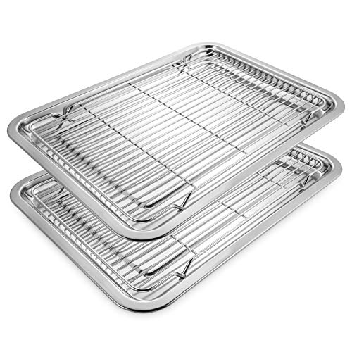 (Deppon Stainless Steel Baking Set with 2 Baking Sheet and 2 Cooling Racks, No-stick Half Sheet Pan Roast Trays for Cookies, Cakes,)