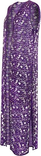Dentelle Manches Tailles WearAll 42 Plus Longue Taille Sans Femmes Cardigan Haut Pourpre Cardigans Femmes Floral 56 Ouvert wIO8nxwqr