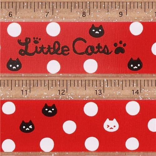 Linda regla con purpurina roja cara de gato lunares de Japón: Amazon.es: Juguetes y juegos