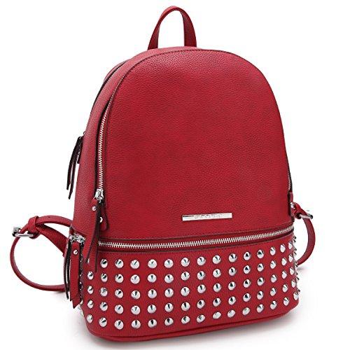Dasein Casual Backpack Purse School Bag Vegan Leather Shoulder Bag Designer Daypack Tote for Womens & - Red Purse Backpack
