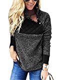 Barlver Women's Warm Fleece Pullover Coat Long Sleeves Sweatshirts Oblique Button Neck Splice Geometric Pattern Outwear