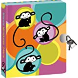 """Peaceable Kingdom Happy Monkeys 6.25"""" Lock and Key, Lined Page Diary for Kids"""