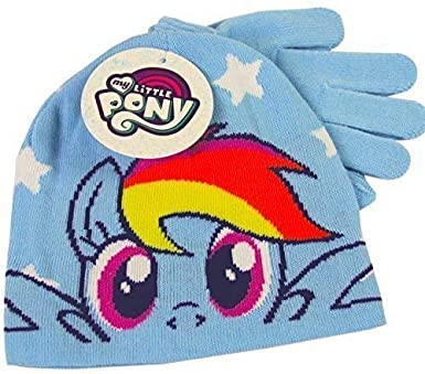 My Little Pony Rainbow Dash Blue Winter Beanie Hat   Gloves Childrens  Official Set  Amazon.co.uk  Clothing 87c6857c091
