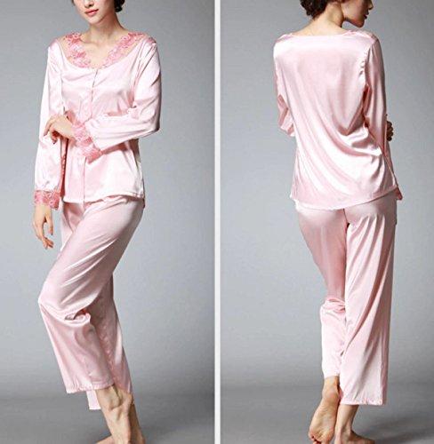 La Sra Primavera Y Otoño Ocasional Con Cordones De Seda Pijama De Manga Larga Pink