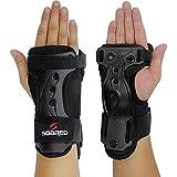 EDTara Ski Gloves Extended Wrist Palms Protection Roller Skating Hard Gauntlets