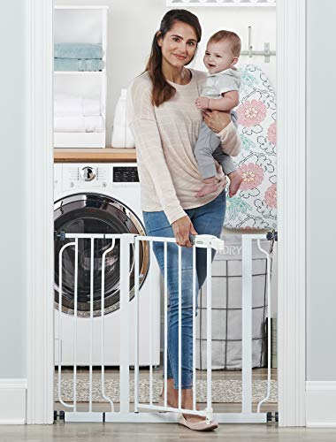 (Regalo Easy Step 38.5-Inch Extra Wide Walk Thru Baby Gate, Includes 6-Inch Extension Kit, 4 Pack Pressure Mount Kit, 4 Pack Wall Cups and Mounting)