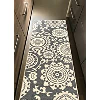 Kapaqua Rubber Backed 20 x 59 Floral Swirl Medallion Grey & Ivory Runner Non-Slip Rug - Rana Collection Kitchen Dining Living Hallway Bathroom Pet Entry Rugs RAN2033-25