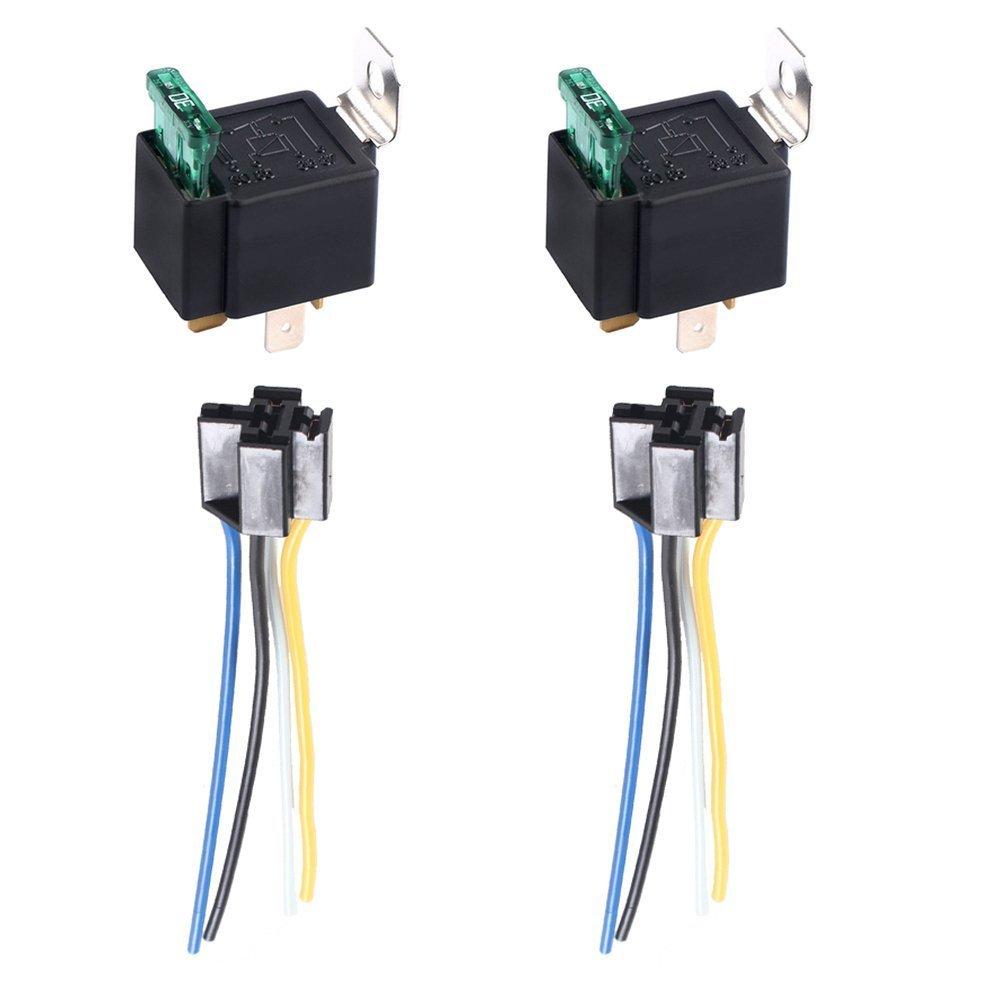 E Support™ 2 X 30A 12V kit voiture relais 4 broches pour la pompe ¨¤ carburant de ventilateur relais fil de prise fusible harnais Moto