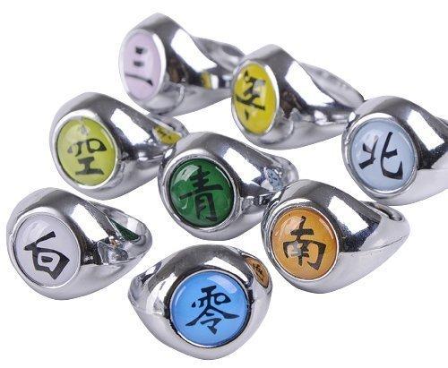 [NuoYa001 NEW 10PCS Naruto Rings Black Akatsuki Ring Set Sasori Itachi Hidan Deidara Cosplay member's Ring Set Model: (Home &] (Naruto Deidara Cosplay Costume)
