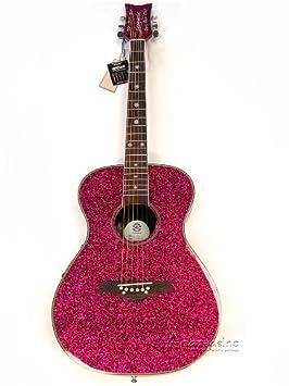 Las niñas Rosa Sparkle guitarra acústica/eléctrica: Amazon.es ...