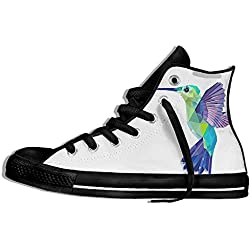 NAFQ Bird Illustration Classic Canvas Sneakers Shoes Lace Up Unisex High Top